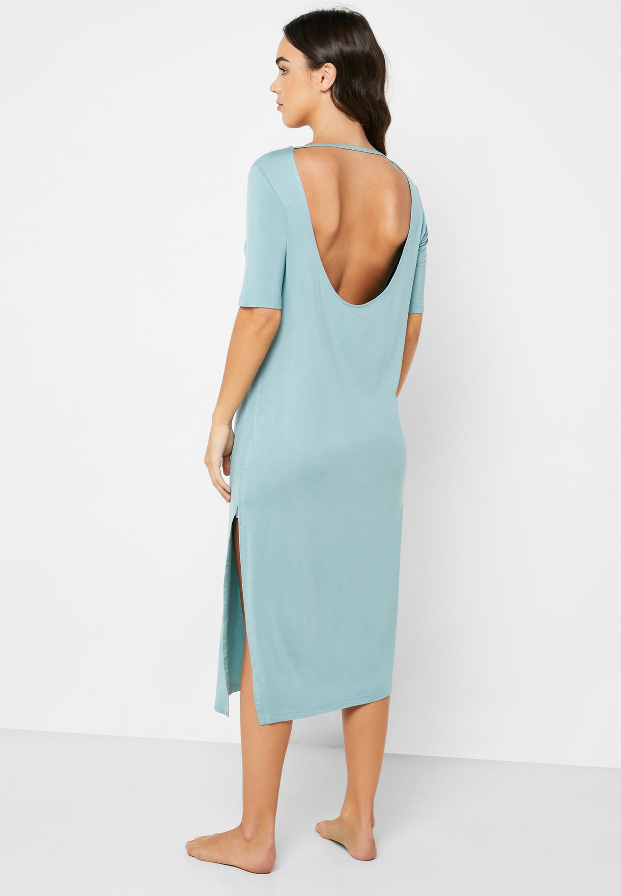 Side Slit Low Back  Nightdress