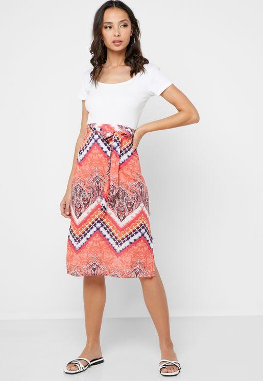 Front Knot Tie Die Skirt