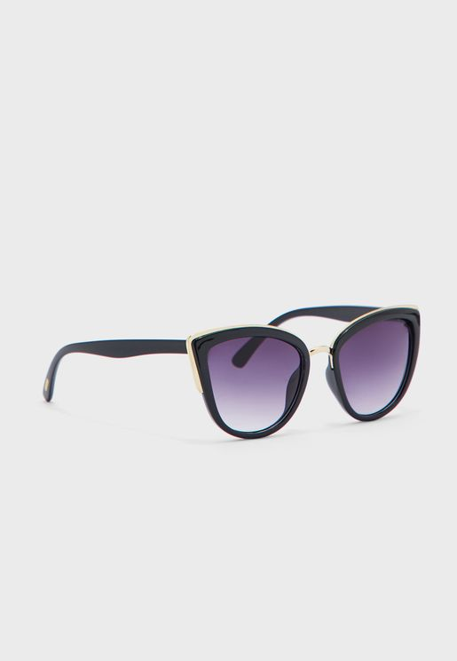 Rounded Cateye Sunglasses With Gold Edge