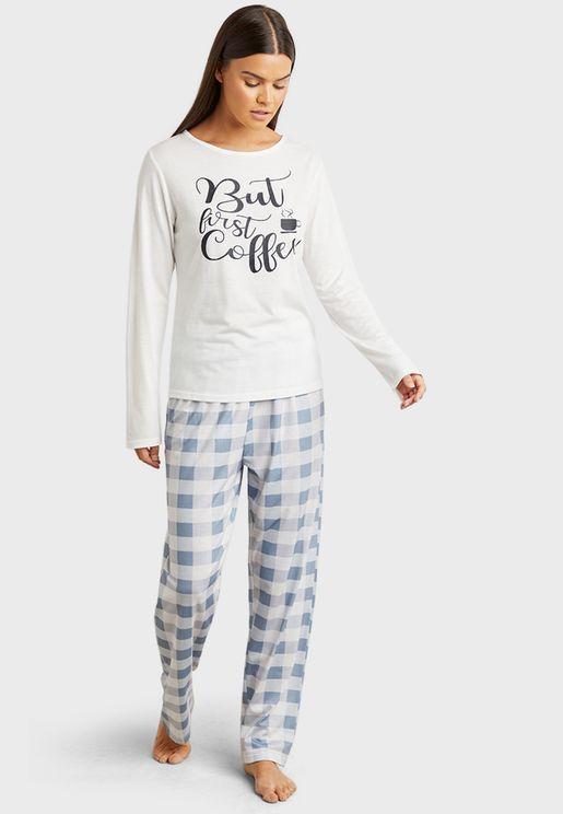 First Coffee Long Sleeves T-Shirt And Pyjama Set
