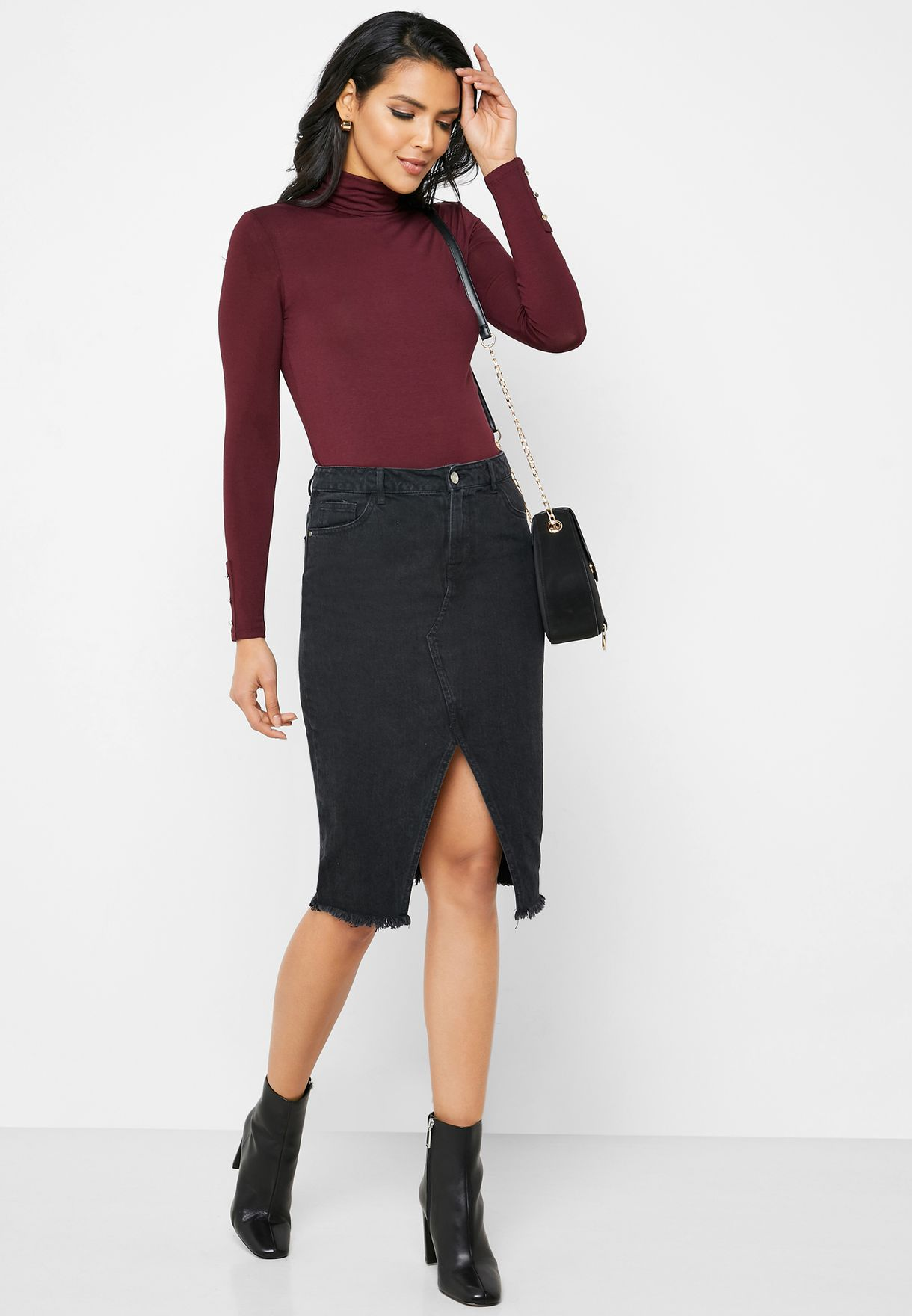 Roll Neck Long Sleeve Top