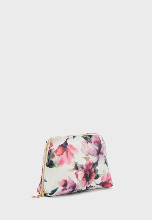 Floral Zip Around Cosmetic Bag