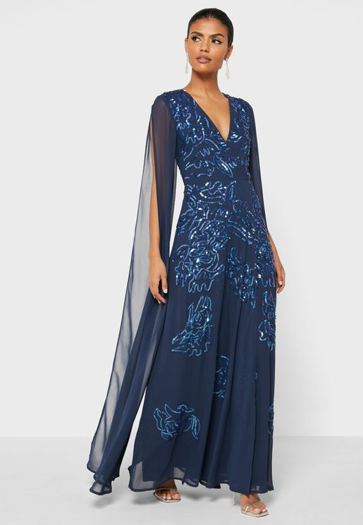 Cape Sleeves Embellished Dress
