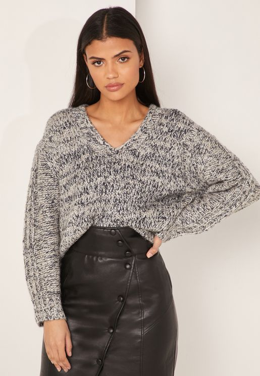 Flo Textured V- Neck Sweater