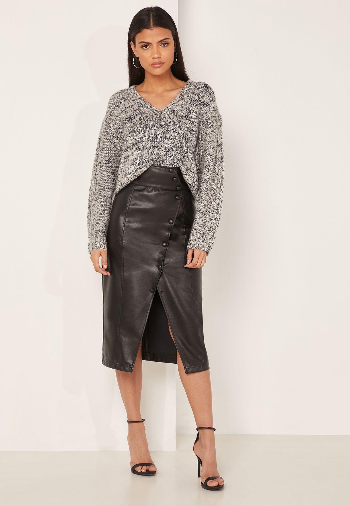 Flo Textured V- Neck Sweater