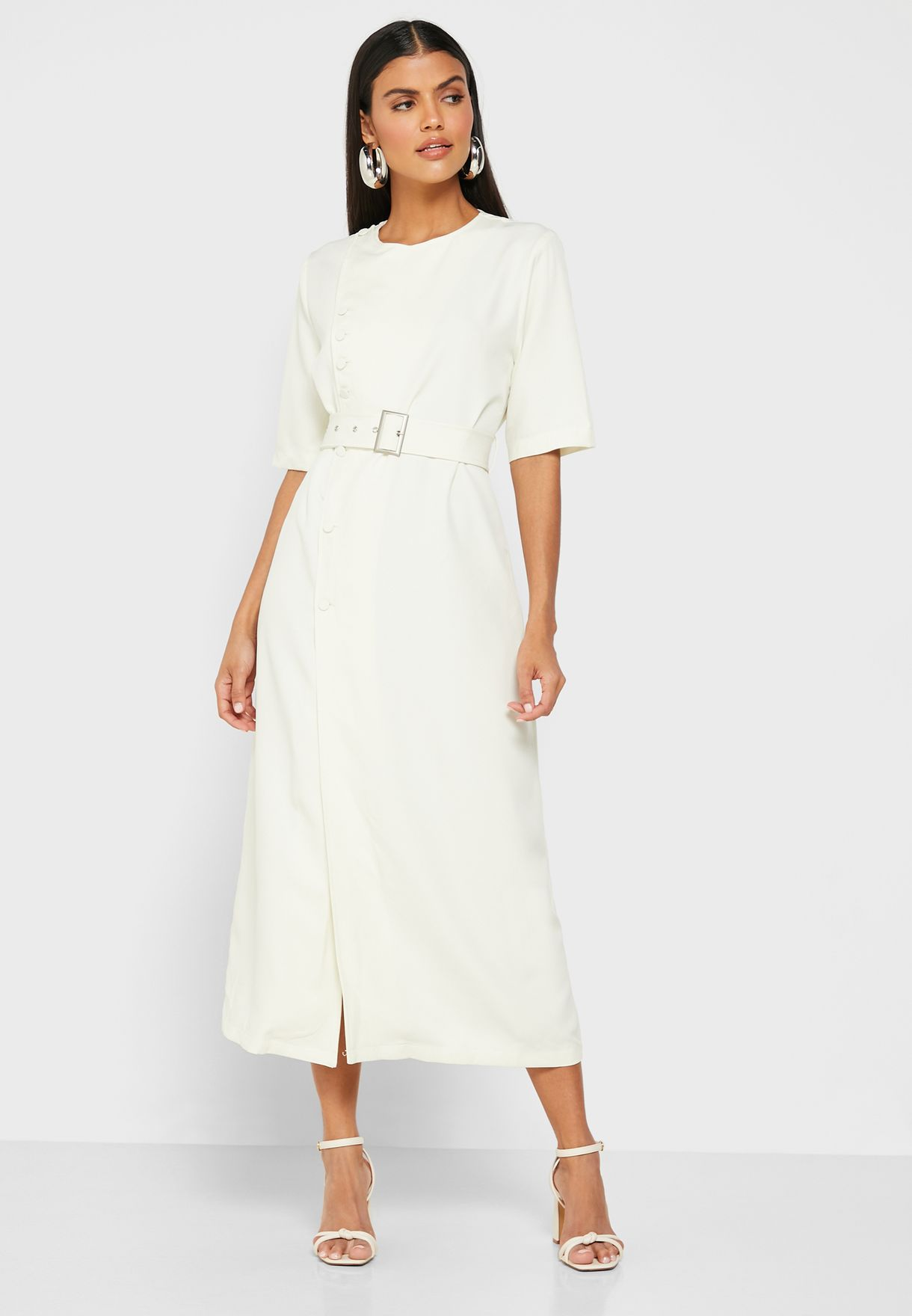 Wrap Front Button Belted Midi Dress