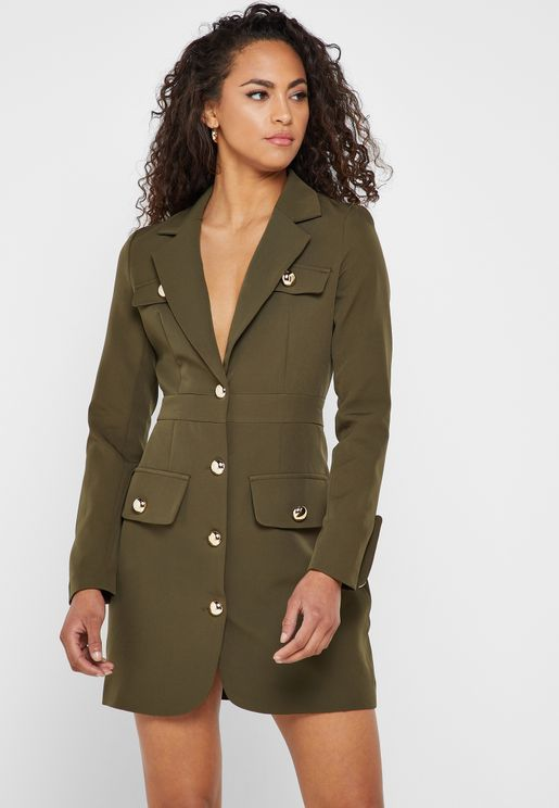 Military Button Blazer Dress