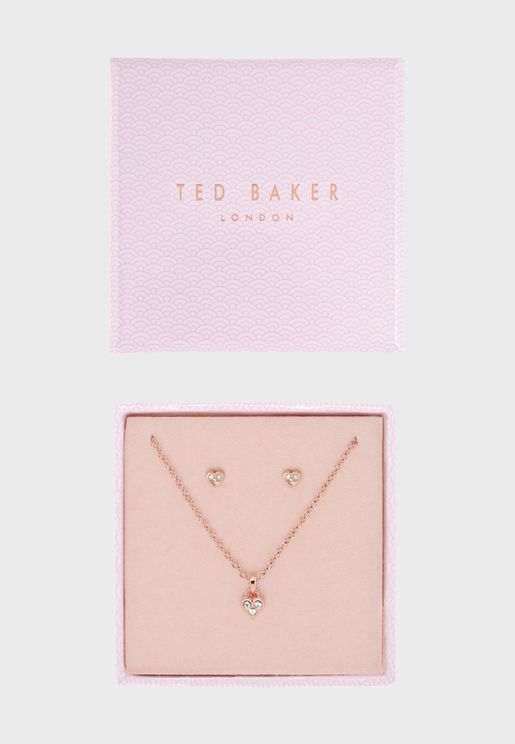 Nelzia Nano Heart Necklace+Earrings Set
