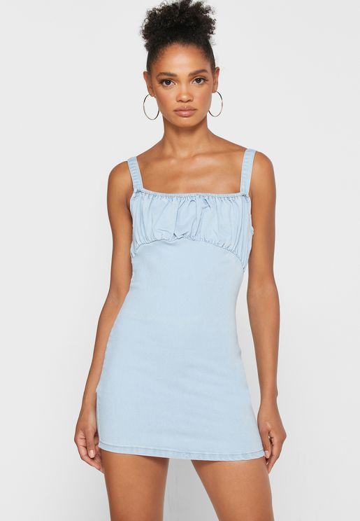 Ruched Detail Denim Dress