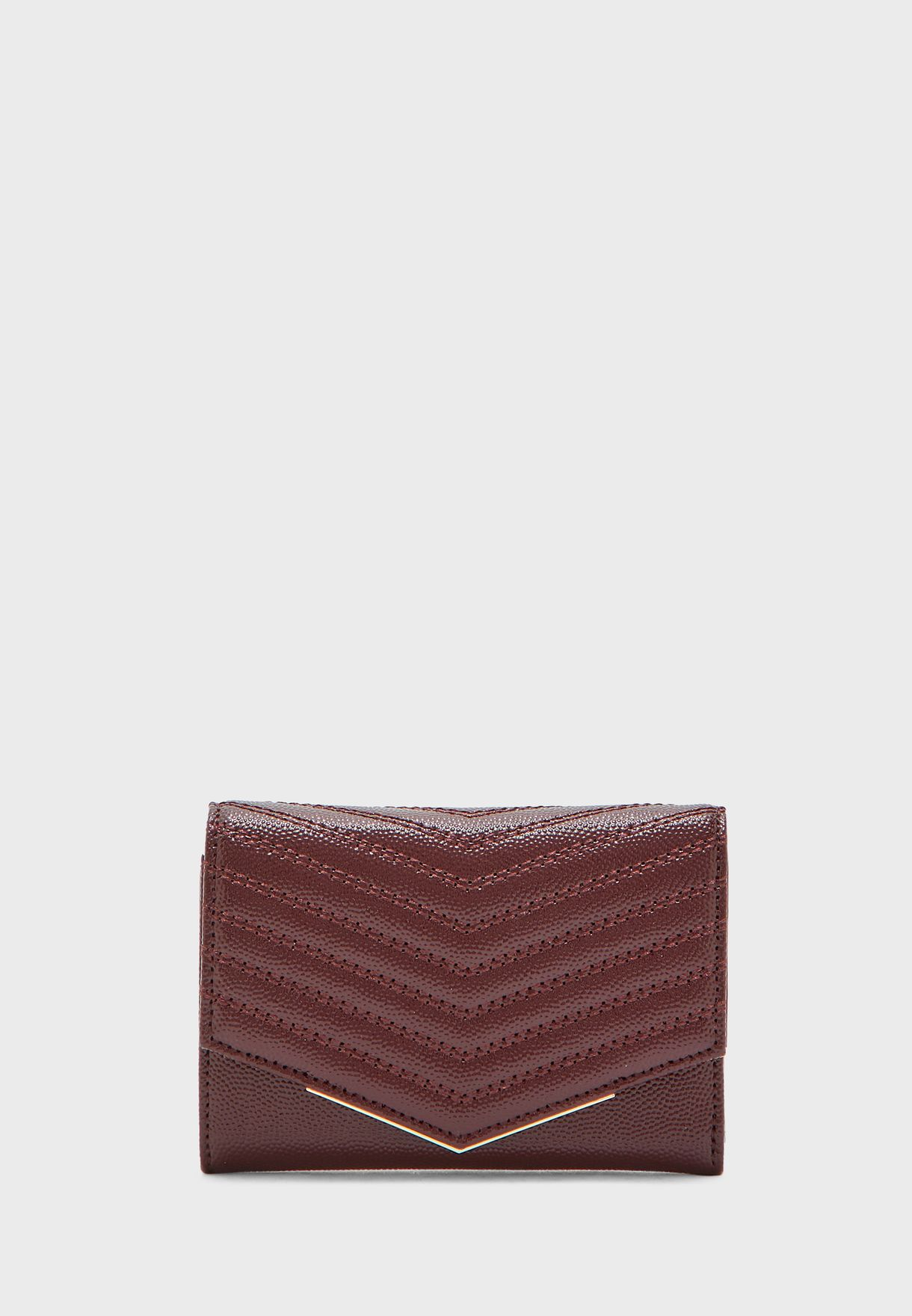 Shaadi Patent Quilted Detail Envelope Purse