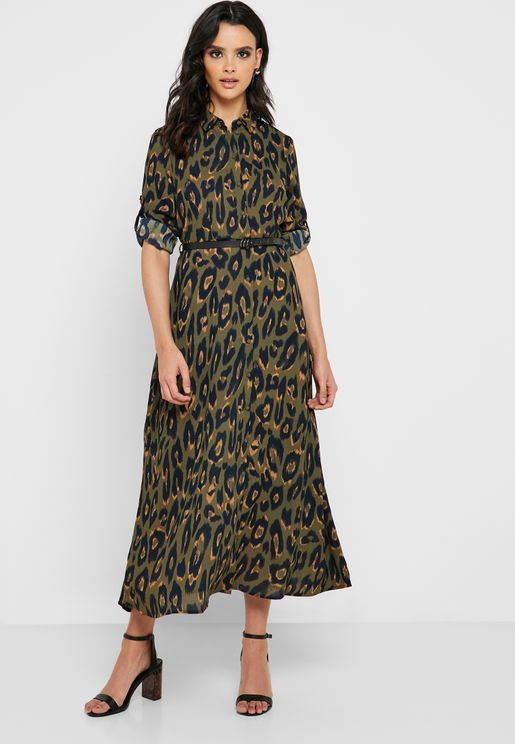 467ce39801 Leopard Print Shirt Dress