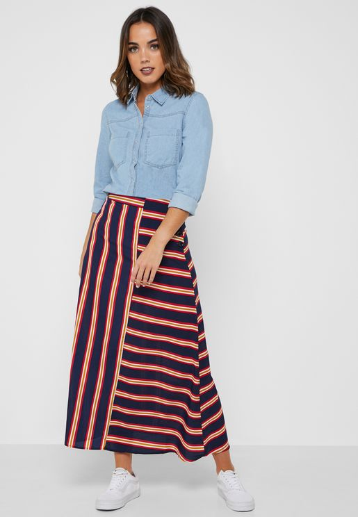 Striped Detail Hem Maxi Skirt