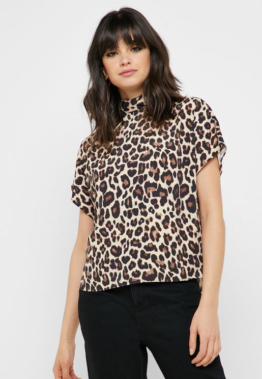 High Neck Leopard Print Top