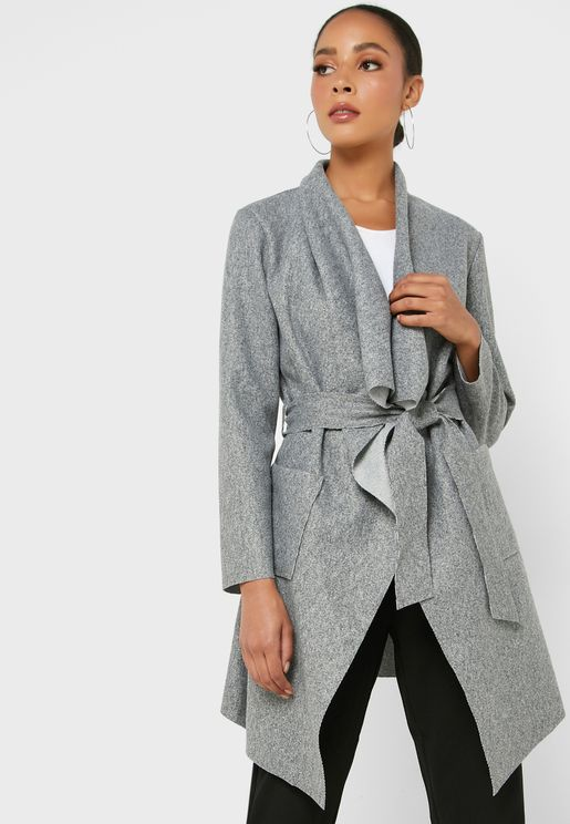 Self Tie Waterfall Coat