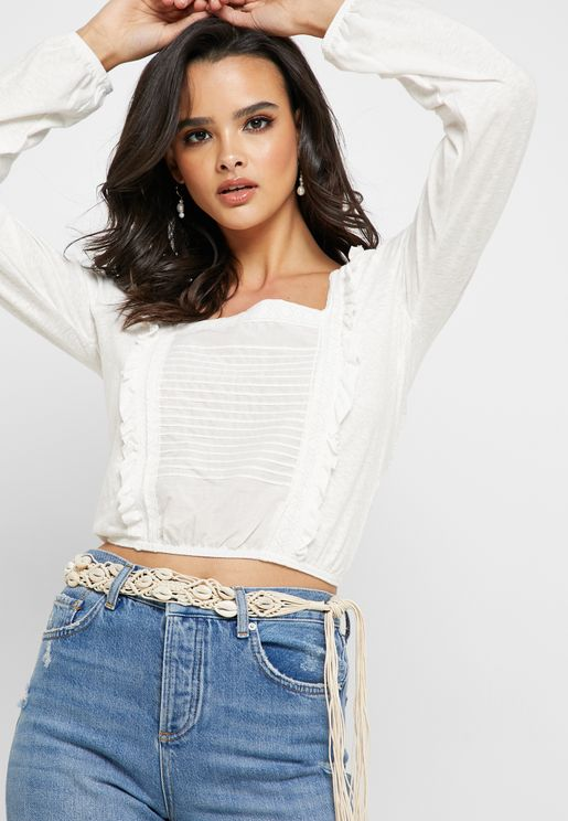 Ruffle Detail Square Neck Top