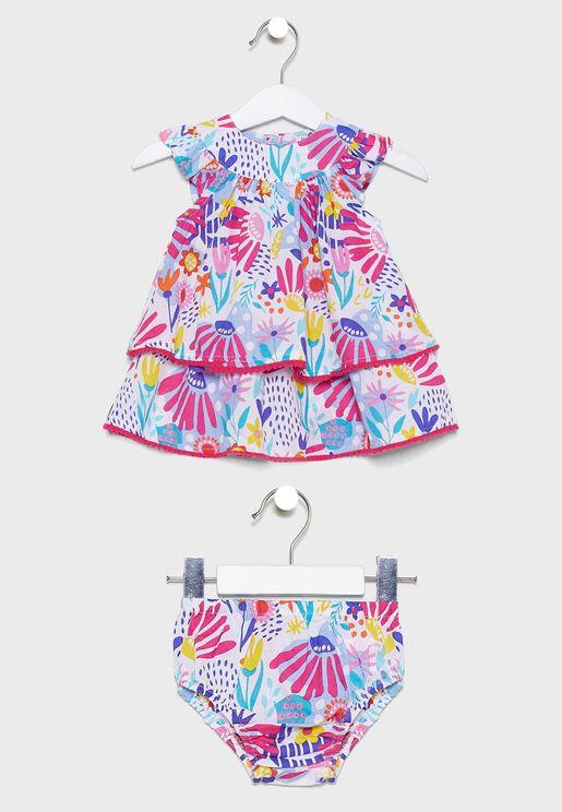 Infant Floral Print Dress+Knicker Set