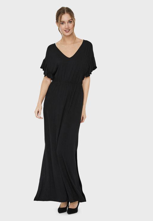 Ruffle Sleeve Pleated Dress