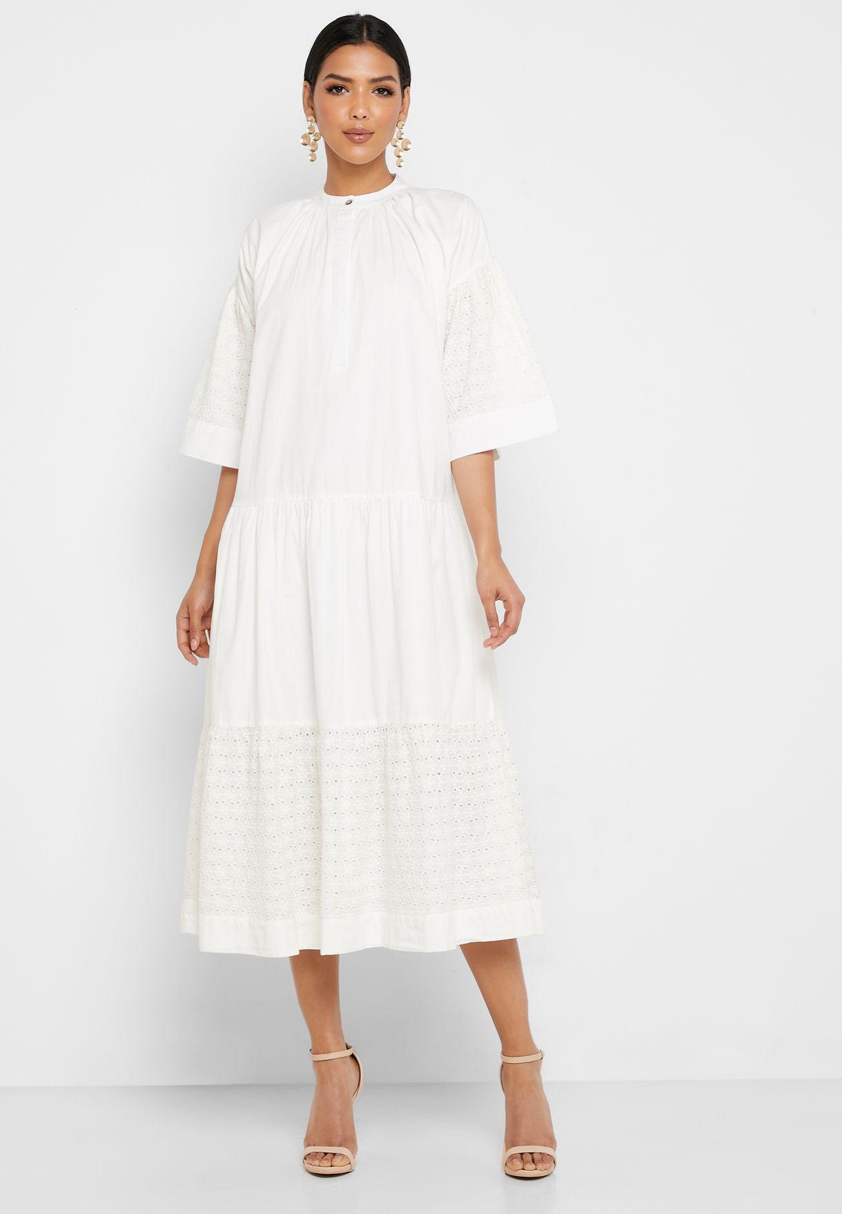 High Neck Broiderie Dress