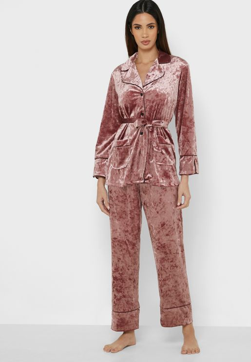 Crushed Velvet Pyjama Set