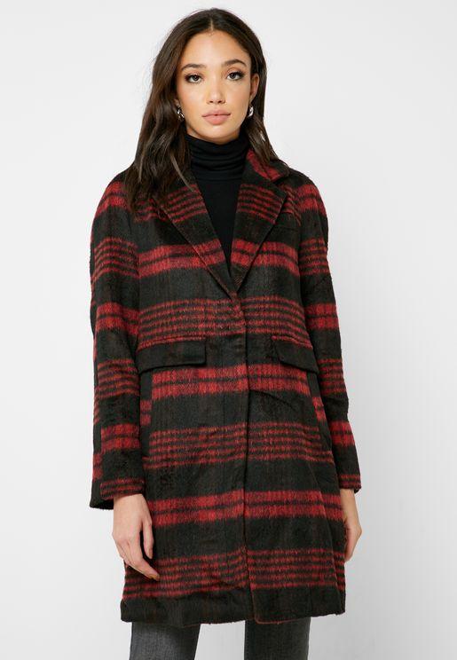 Checked Fleece Coat