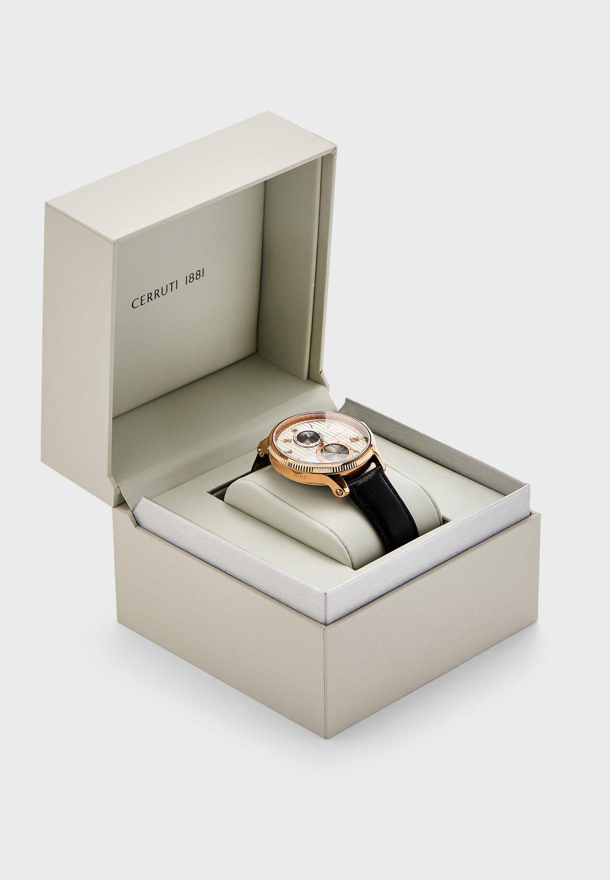 ساعة جلد اصلي كرونوغراف