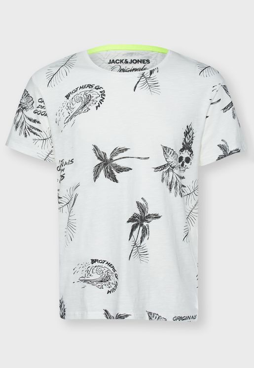 Floral Print Relaxed Crew Neck T-Shirt