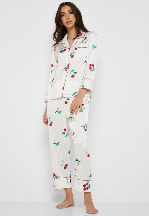 Cherry Print Shirt Pyjama Set