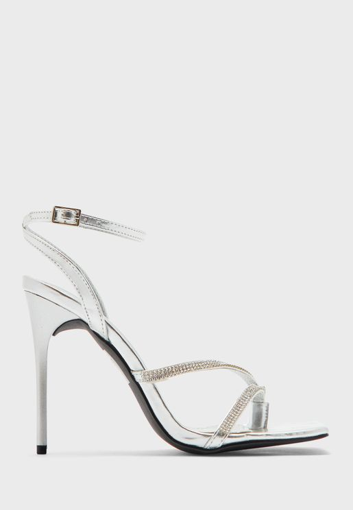Metallic Cross Strap Square Toe Stiletto Sandal