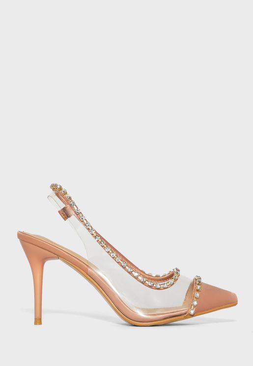 Pointed Persplex Slingback Stilettos With Diamante Trim
