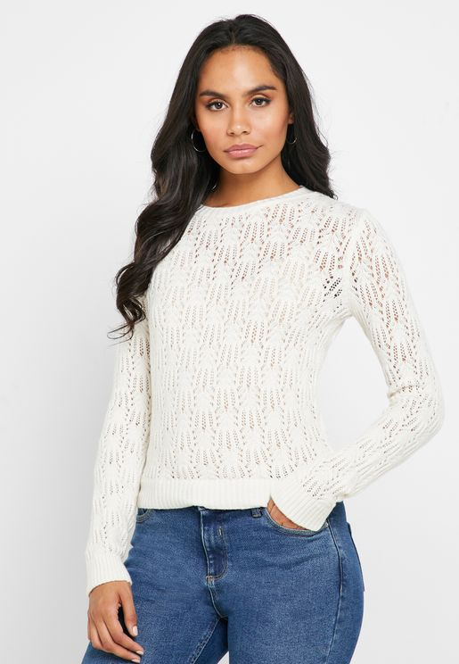 Openwork Crew Neck Sweater