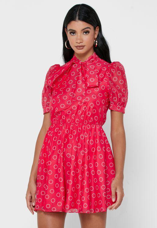 Dottyy Puff Sleeve Mini Dress