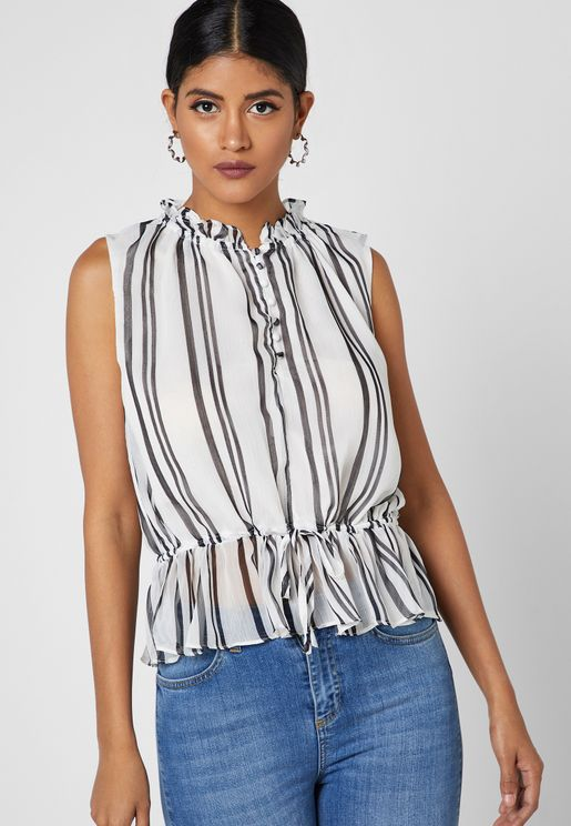 Striped Drawstring Waist Top