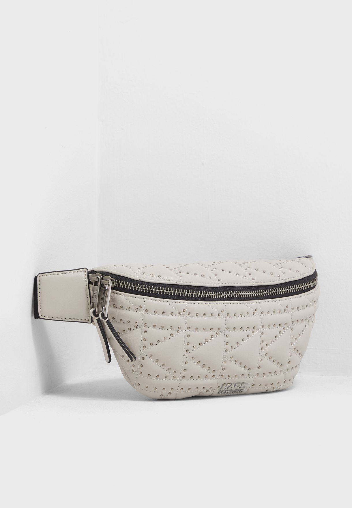 dbd38649e31bb5 Shop Karl Lagerfeld grey Quilted Studs Bumbag 91KW3046-741 for Women ...