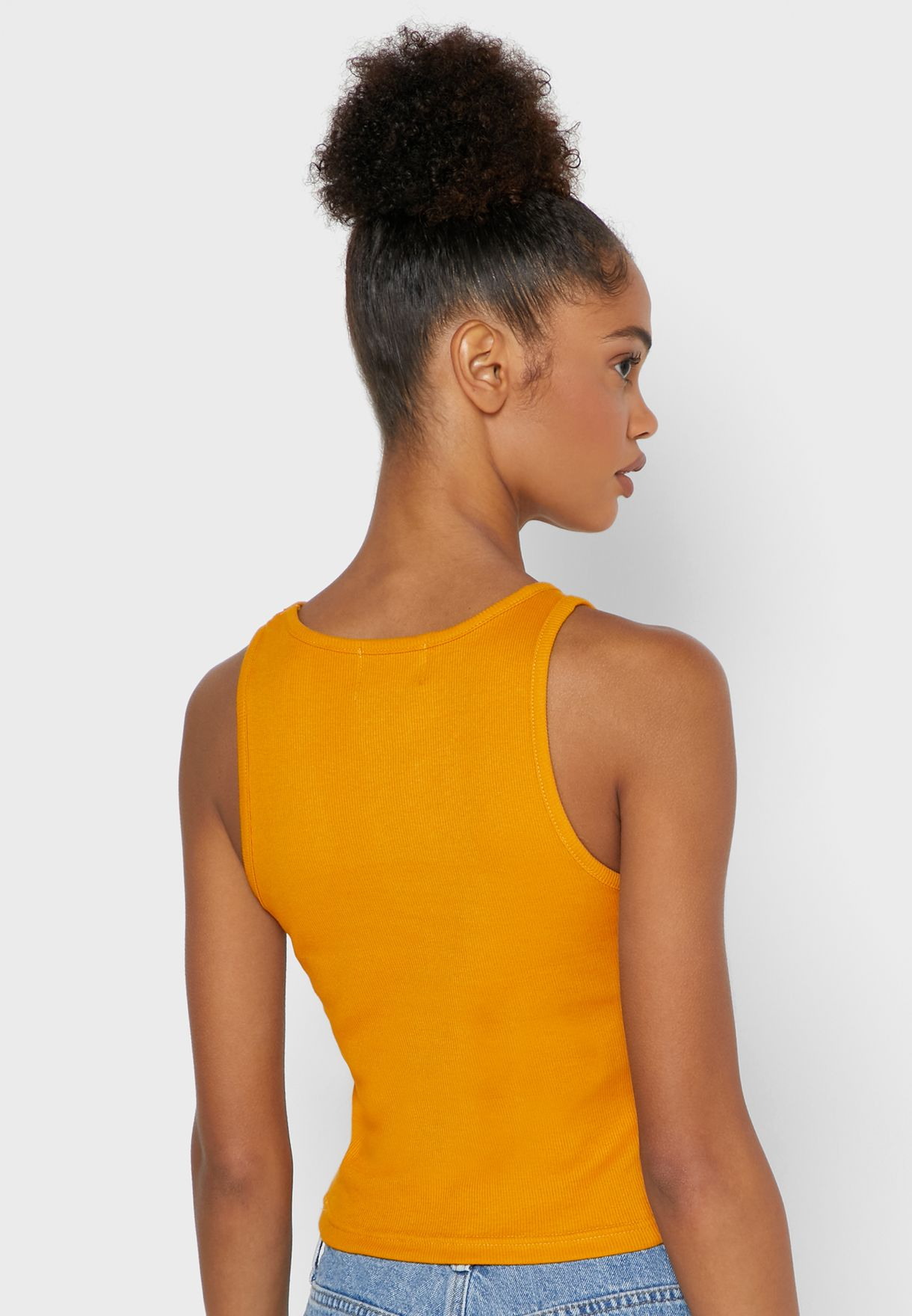 Round Neck Ribbed Tank Top