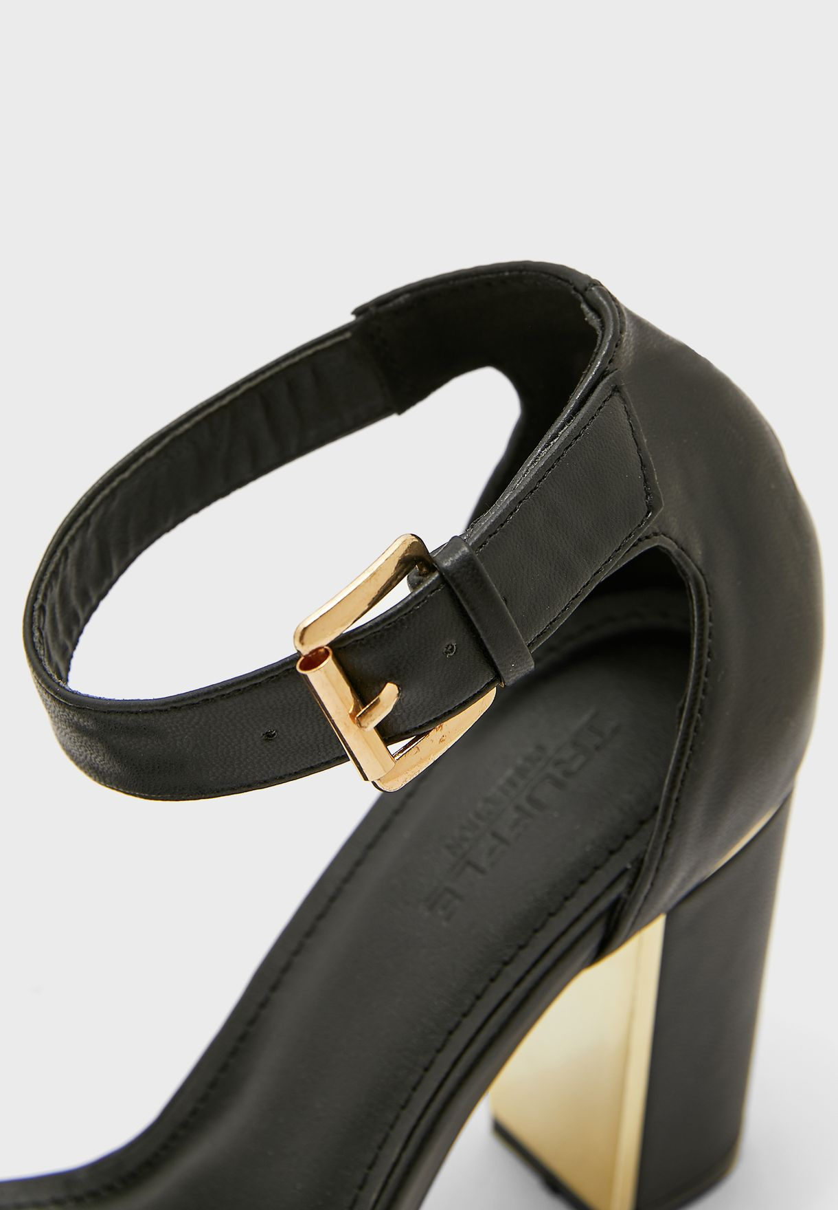 Block Heel Ankle Strap Sandal With Gold Trim