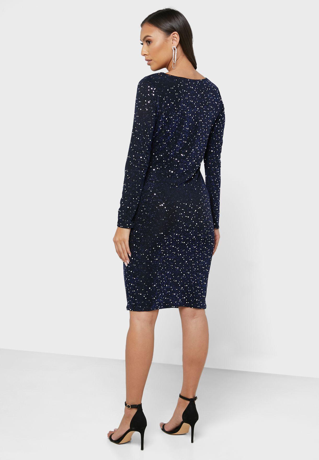 Sequin Wrap Bodycon Dress