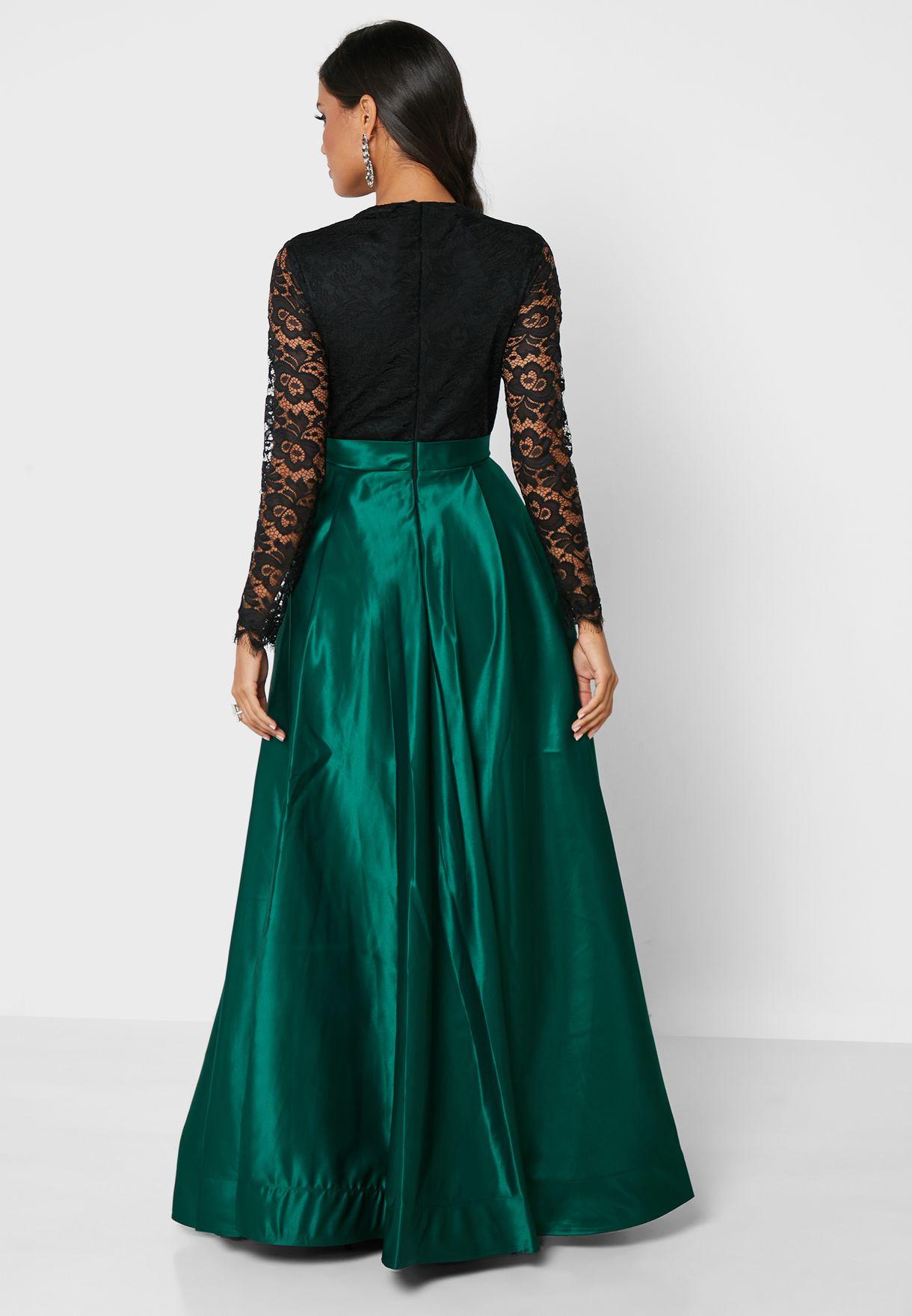 Lace Body Slit Dress