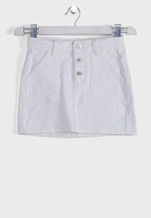 Kids Button Detail Denim Skirt