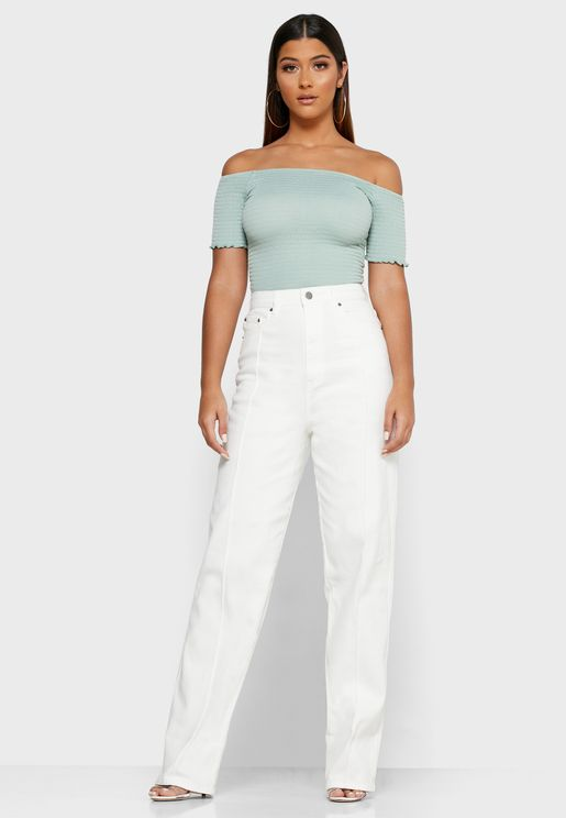 Roll Hem High Waist Jeans