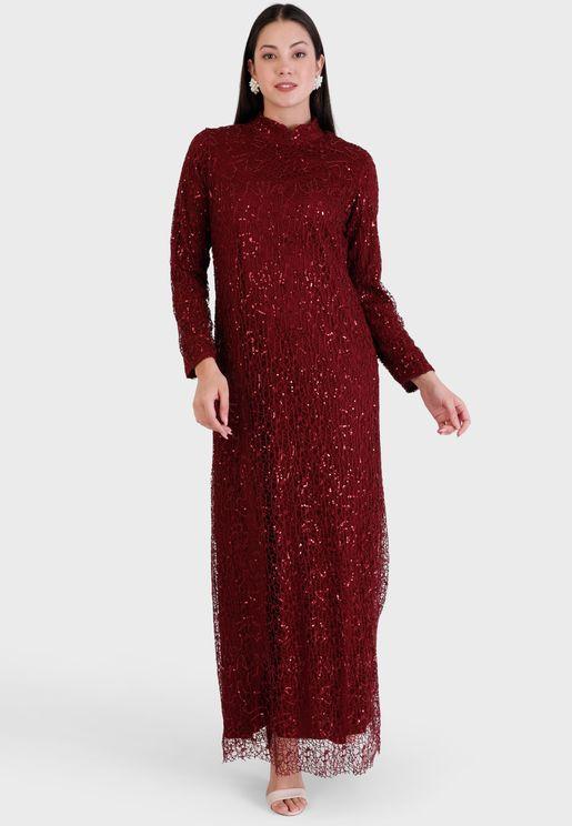 Sequin Detail High Neck Dress