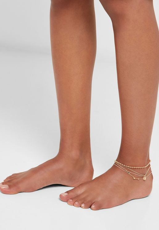Multipack Lock & Key Detail Anklets