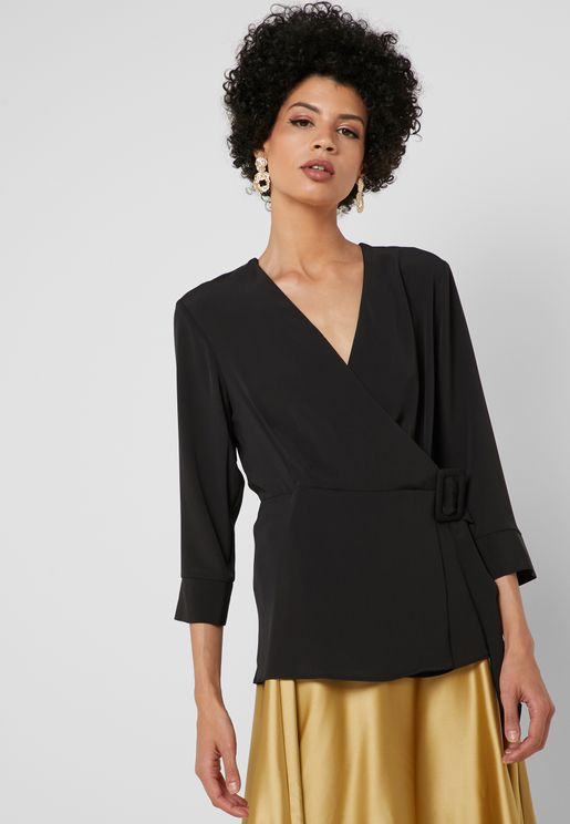 Belted Buckle Detail Wrap Top