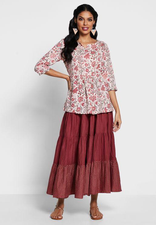 Printed Crinkled Long Skirt