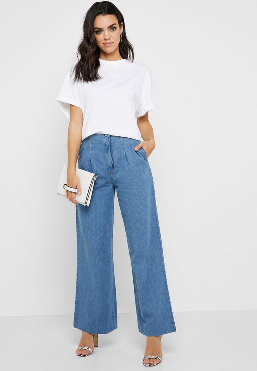 High Waist Wide Leg Pleated Jeans