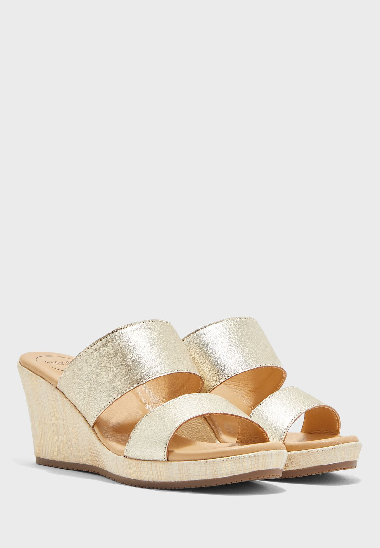Le Confort Two Strap Wedge Sandal-gold - Brand Shoes