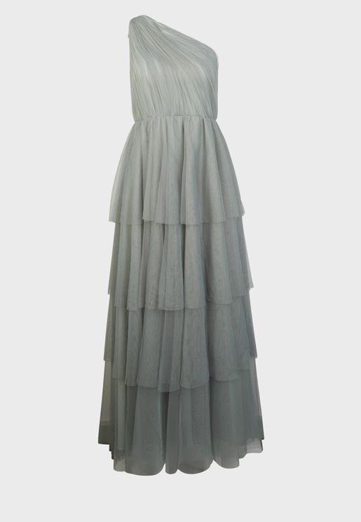 One Shoulder Layered Dress