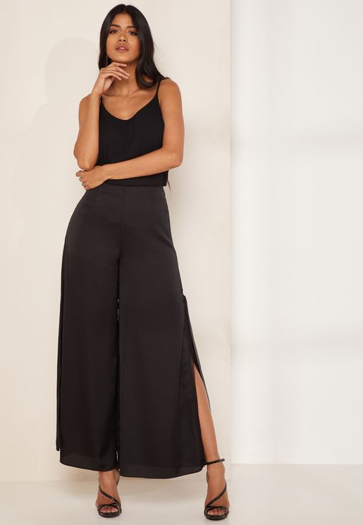 Whisper Wide Leg Side Split Pants