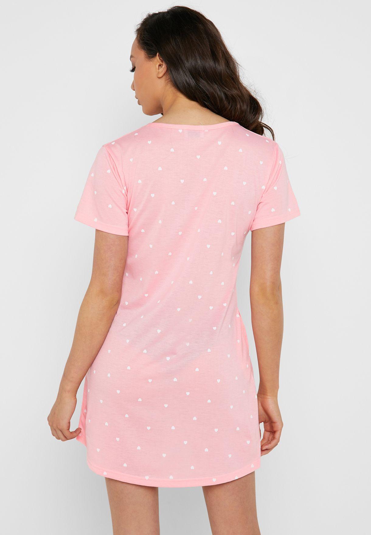 Slogan Heart Print Nightdress