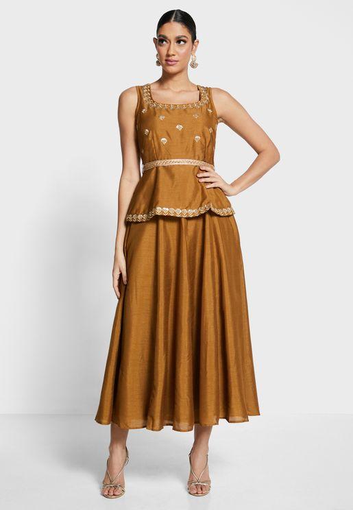 Embroidered Belted Peplum Layered Tunic