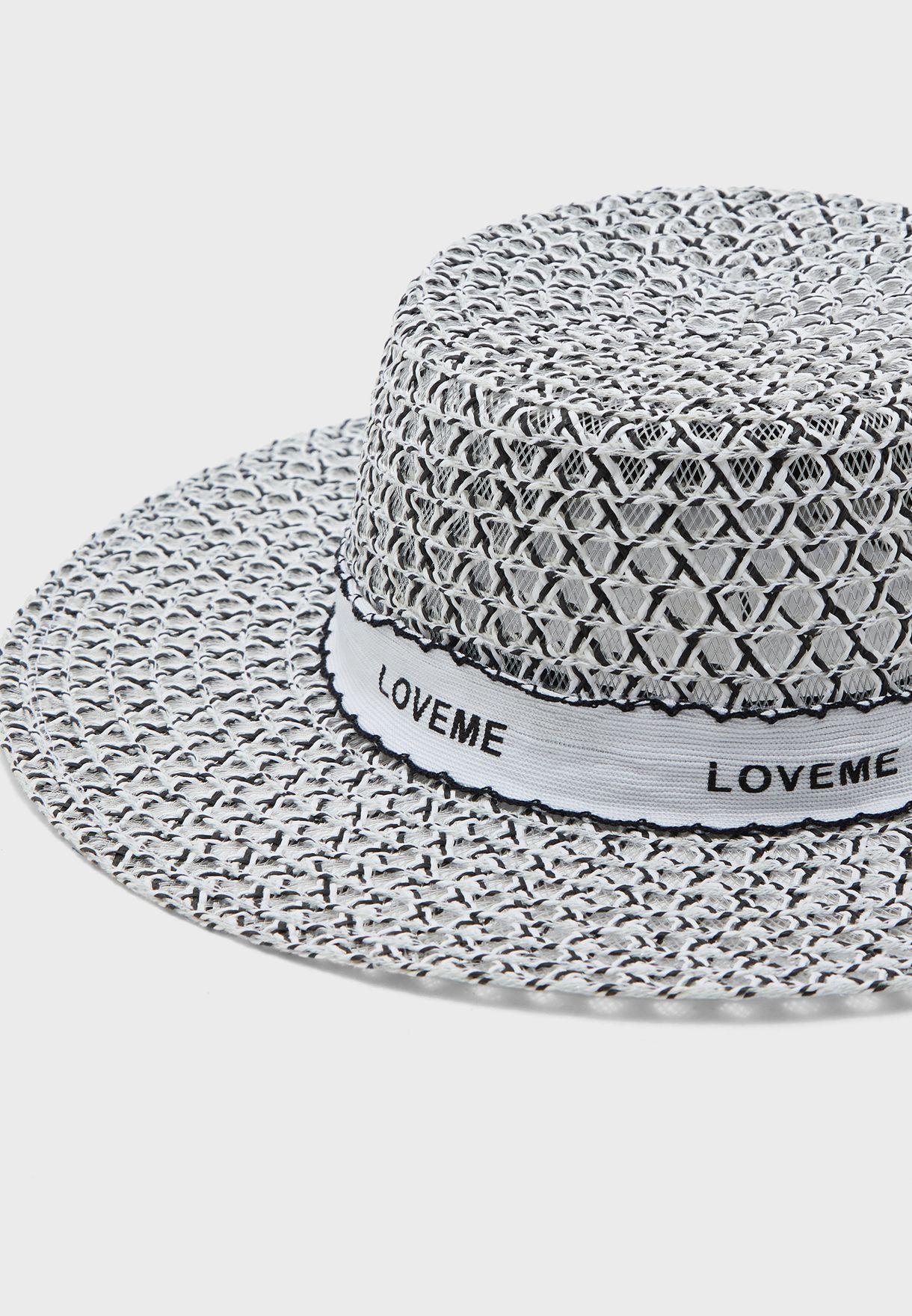 قبعة قش بطباعة كتابة